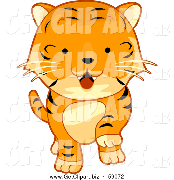 Clip Art of a Cute Tiger Walking