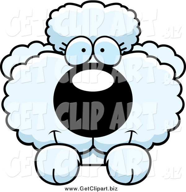 Clip Art of a Cute White Poodle Looking over a Surface