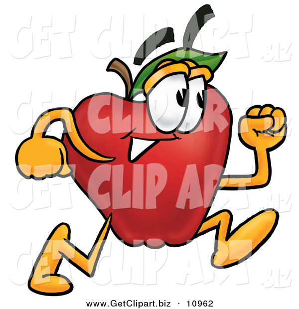 Clip Art of a Determined Red Apple Character Mascot Running in a Hurry