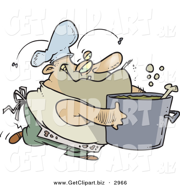 Clip Art of a Dirty Chubby and Stinky Male Chef Carrying a Pot of Soup
