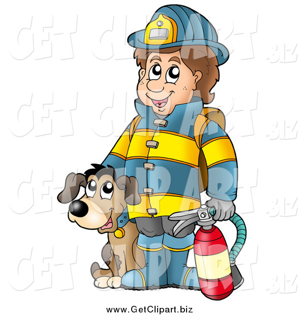 Clip Art of a Dog by a Happy Fireman Holding an Extinguisher
