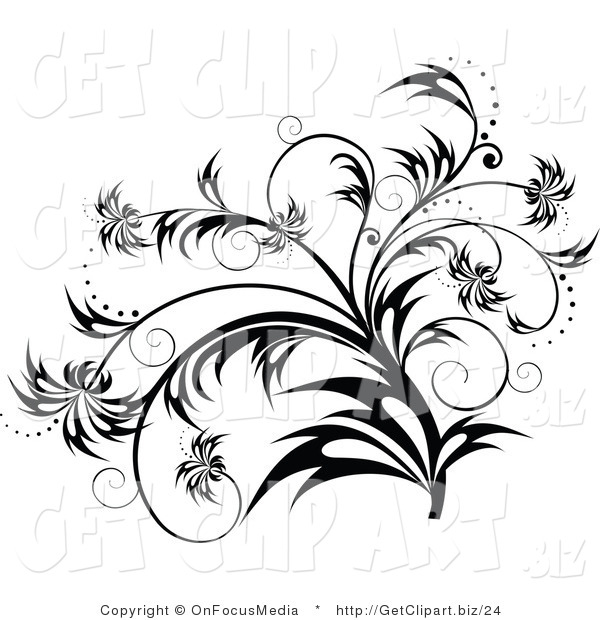 Clip Art of a Elegant Black and White Flourish, Plant Scroll Design Element with Sparkles and Wisp Leaves
