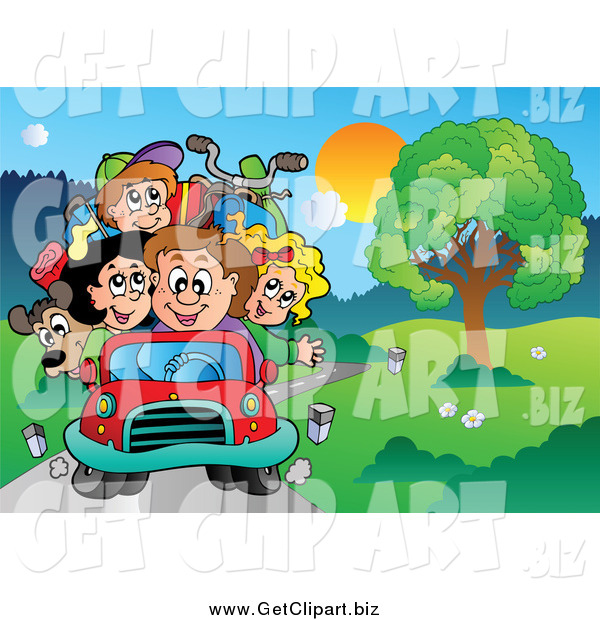 Clip Art of a Family Driving on a Country Road