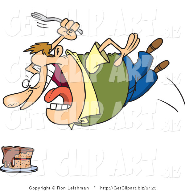 Clip Art of a Fat Caucasian Man Diving Towards a Cake with a Fork, Satisfying a Craving