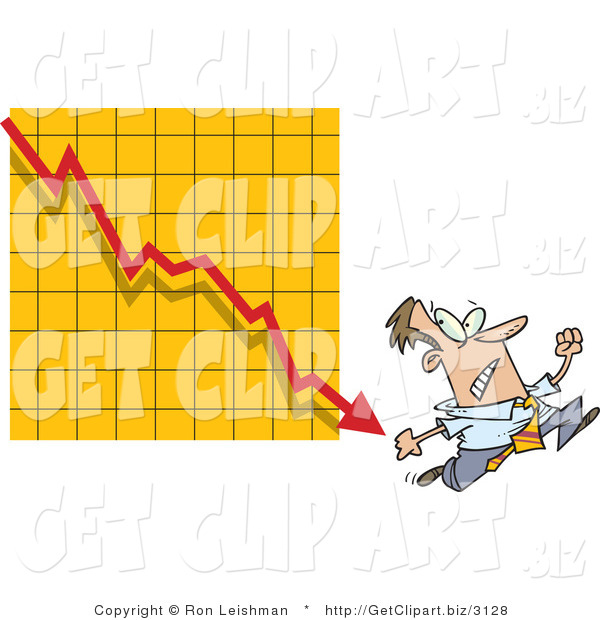Clip Art of a Fearful Man Running from a Bar on a Declining Graph