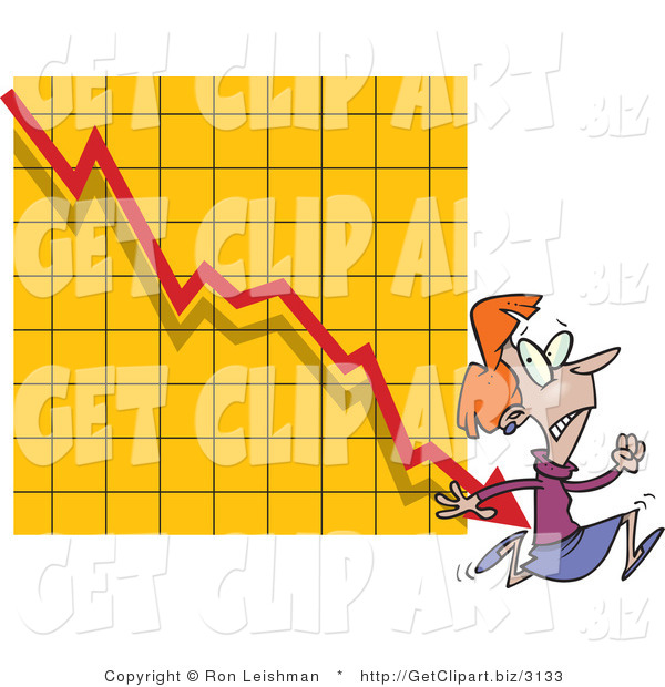 Clip Art of a Featful Woman Running from a Bar on a Declining Graph