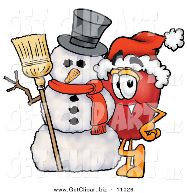 Clip Art of a Festive and Happy Red Apple Character Mascot Leaning on a Snowman on Christmas