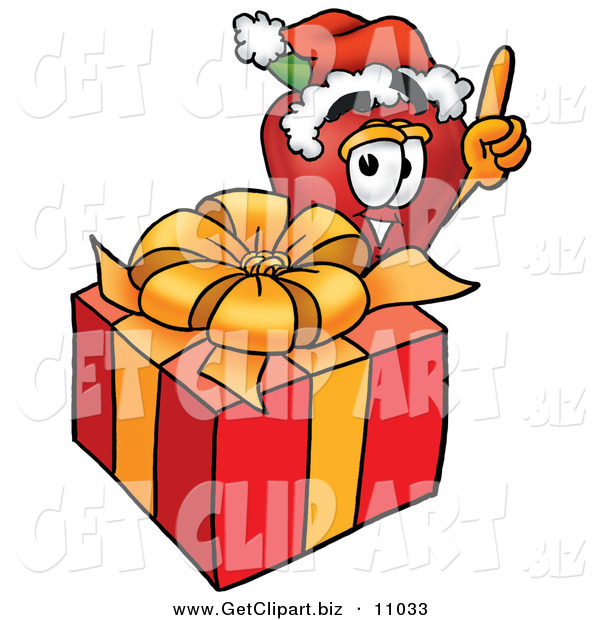 Clip Art of a Festive Red Apple Character Mascot with a Christmas Present over White
