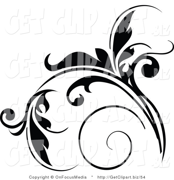Clip Art of a Floral Design Element in Black, with Tendrils Growing up