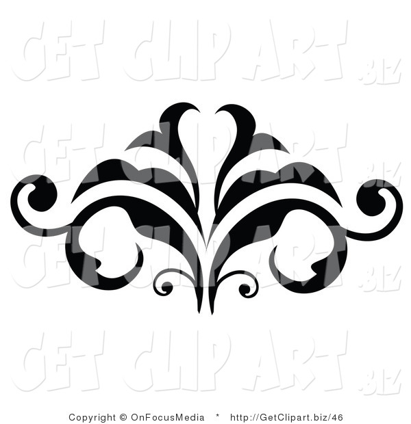 Clip Art of a Flourishing Black Silhouetted Embellishment Design