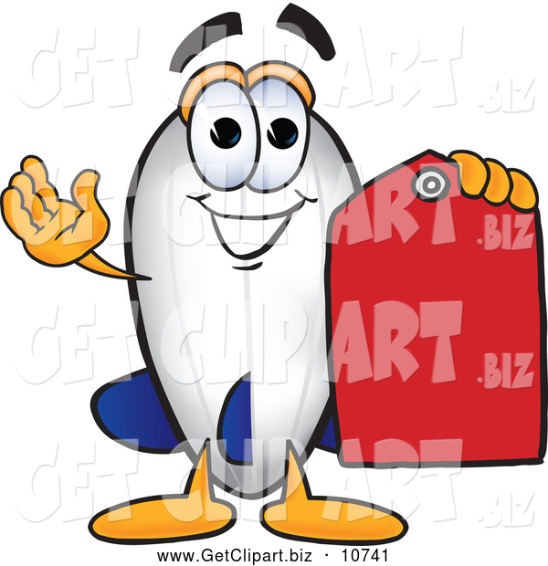 Clip Art of a Friendly Blimp Mascot Cartoon Character Holding a Red Clearance Price Tag
