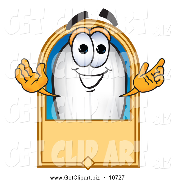Clip Art of a Friendly Blimp Mascot Cartoon Character with a Blank Label