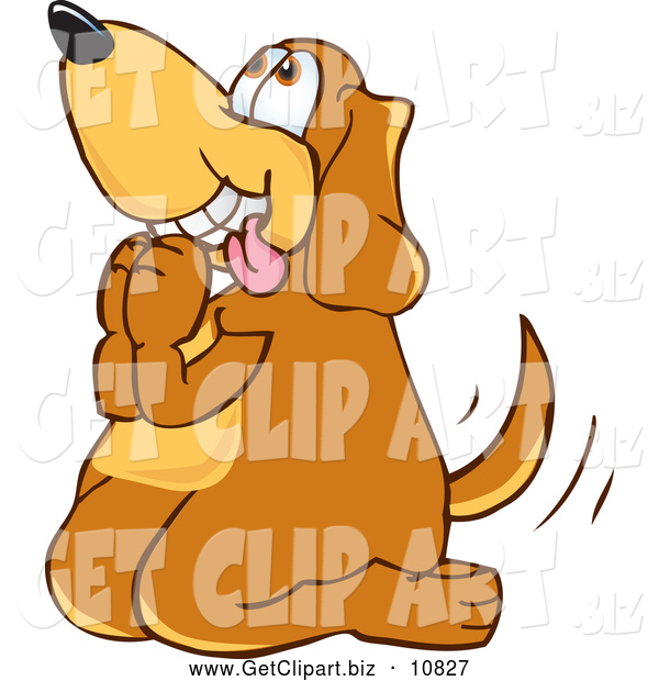Clip Art of a Friendly Brown Dog Mascot Cartoon Character Begging for a Walk or Treats