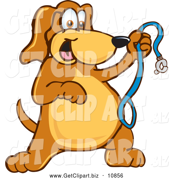 Clip Art of a Friendly Brown Dog Mascot Cartoon Character Holding a Leash, Ready for a Walk
