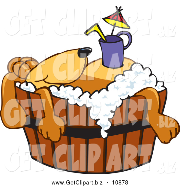 Clip Art of a Friendly Brown Dog Mascot Cartoon Character with a Drink on His Belly, Taking a Bath
