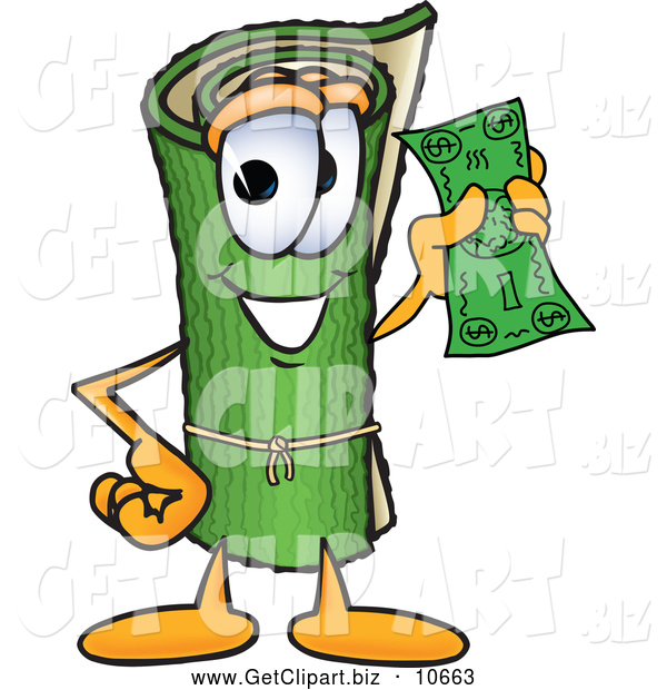 Clip Art of a Friendly Green Carpet Mascot Cartoon Character Holding a Dollar Bill