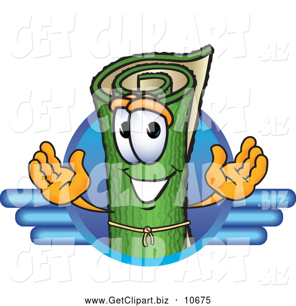 Clip Art of a Friendly Green Carpet Mascot Cartoon Character Logo with Blue Lines