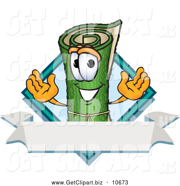 Clip Art of a Friendly Green Carpet Mascot Cartoon Character with a Blank Label