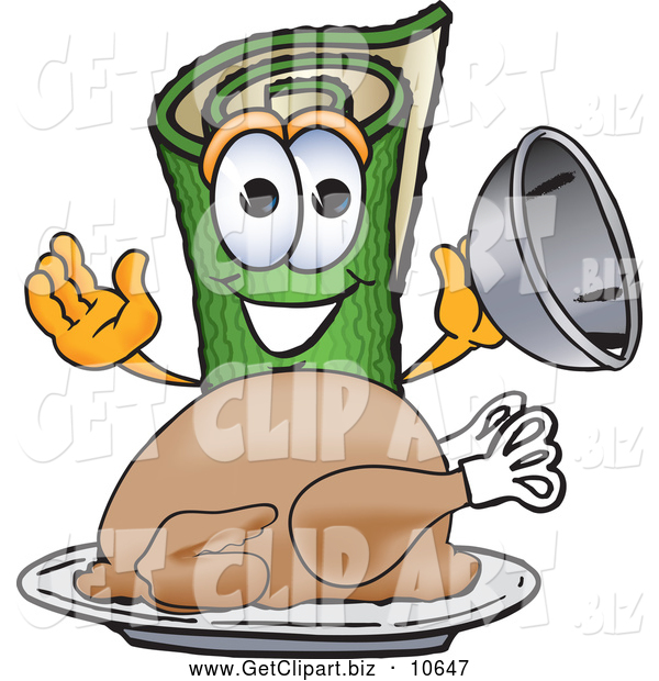 Clip Art of a Friendly Green Carpet Mascot Cartoon Character with a Thanksgiving Turkey on a Platter