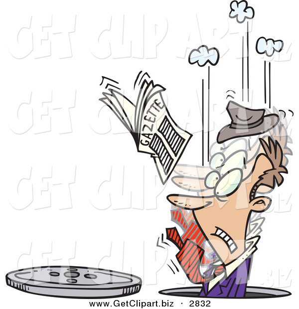 Clip Art of a Frowning Man in a Manhole, His Newspaper in the Air