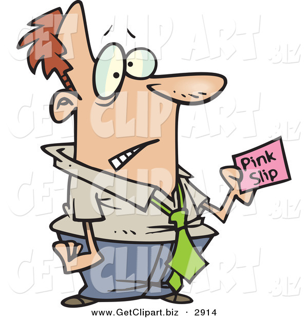 Clip Art of a Frowning White Business Man Holding a Pink Slip