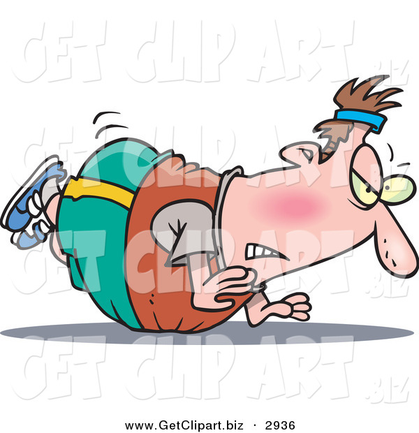 Clip Art of a Frustrated White Chubby Man Trying to Do Pushups but His Belly Keeps Getting in the Way