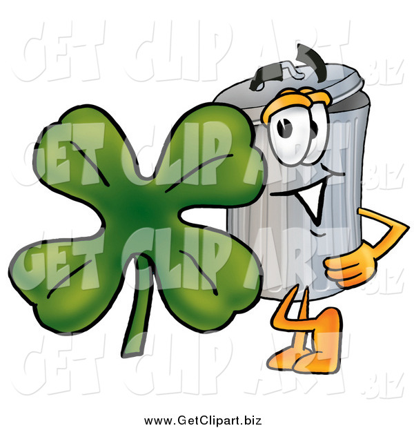 Clip Art of a Garbage Can Mascot with St Paddy's Day Clover