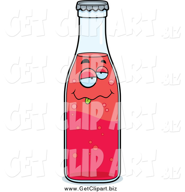 Clip Art of a Goofy Smiling Red Soda Bottle