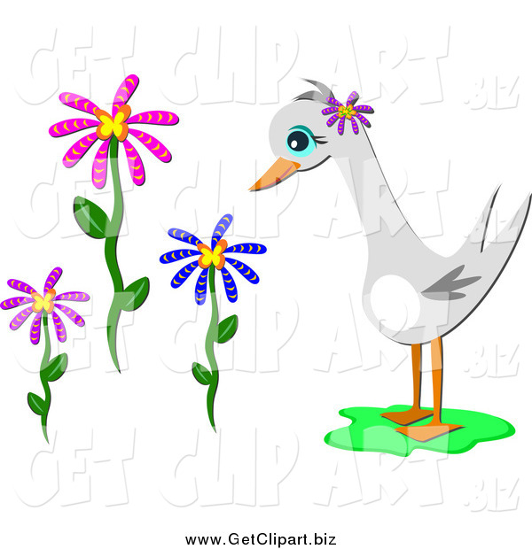 Clip Art of a Goose and Flowers