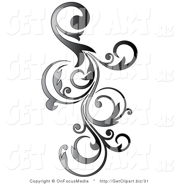 Clip Art of a Gradient Gray Vertical Curly Vine Scroll ...