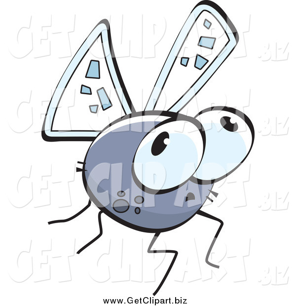 Clip Art of a Gray Worried Fly