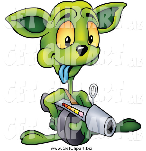 Clip Art of a Green Alien Aiming a Weapon