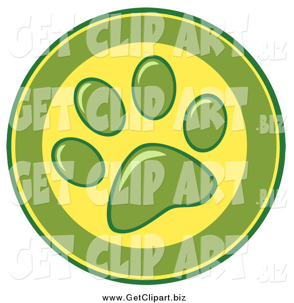 Clip Art of a Green and Yellow Dog Paw Print Design