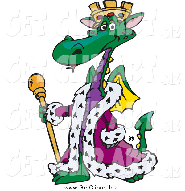 Clip Art of a Green King Green Dragon Wearing a Purple Robe