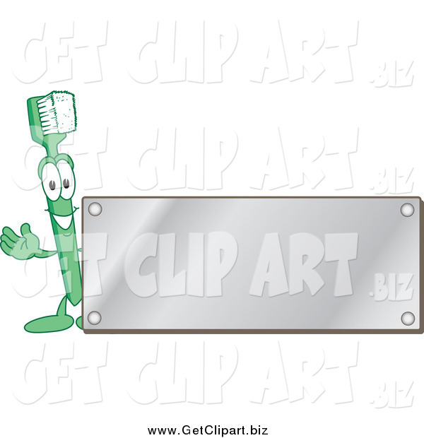 Clip Art of a Green Toothbrush Character Waving by a Blank Silver Plaque