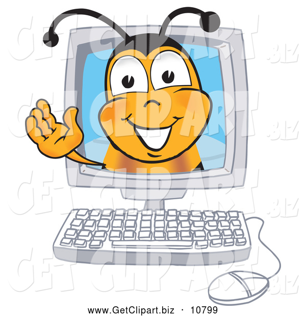 Clip Art of a Grinning Bee Mascot Cartoon Character in a Computer Monitor, Waving