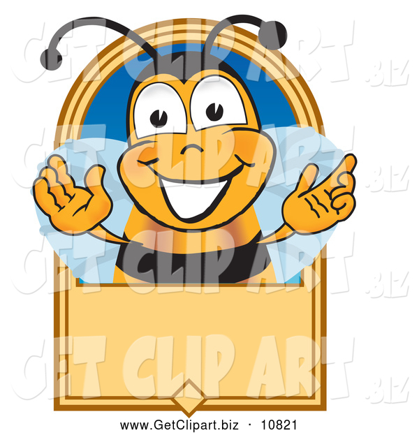Clip Art of a Grinning Bee Mascot Cartoon Character on a Blank Tan Label