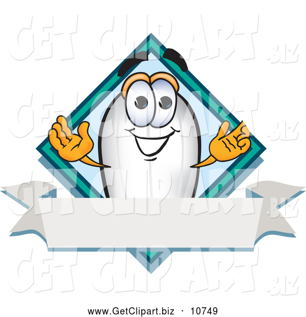 Clip Art of a Grinning Blimp Mascot Cartoon Character with a Blank Ribbon Label