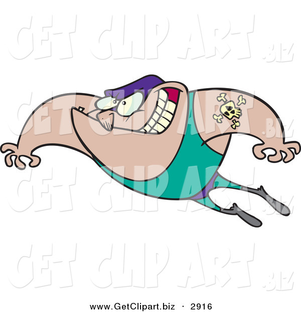 Clip Art of a Grinning Caucasian Chubby Wrestler Man with a Skull and Bones Tattoo