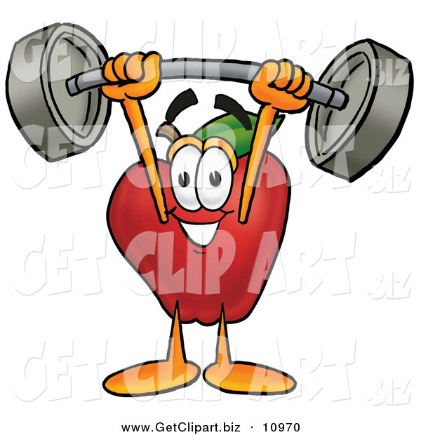 Clip Art of a Grinning Red Apple Character Mascot Holding a Heavy Barbell Above His Head