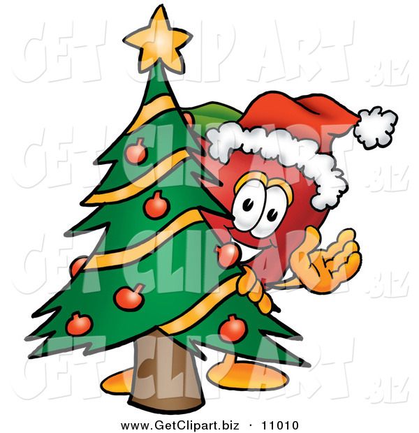 Clip Art of a Grinning Red Apple Character Mascot with a Decorated Christmas Tree
