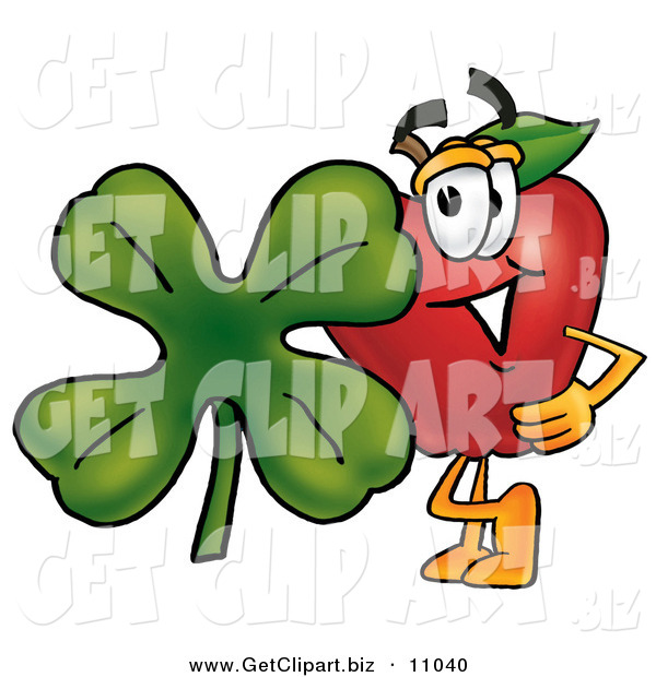 Clip Art of a Grinning Red Apple Character Mascot with a Green Four Leaf Clover on St Paddy's or St Patricks Day