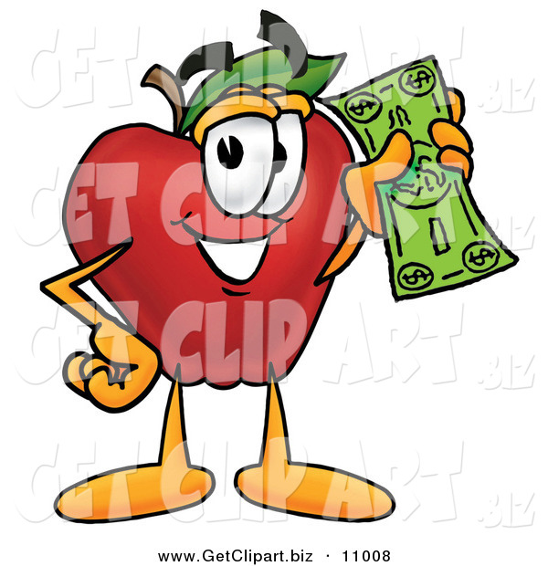 Clip Art of a Grinning Rich Red Apple Character Mascot Holding a Green Dollar Bill, Paying or Saving