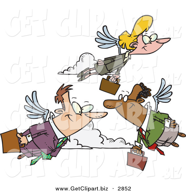 Clip Art of a Group of Business People Carrying Briefcases, Flying with Wings on Their Way to Work, Transportation of the Future
