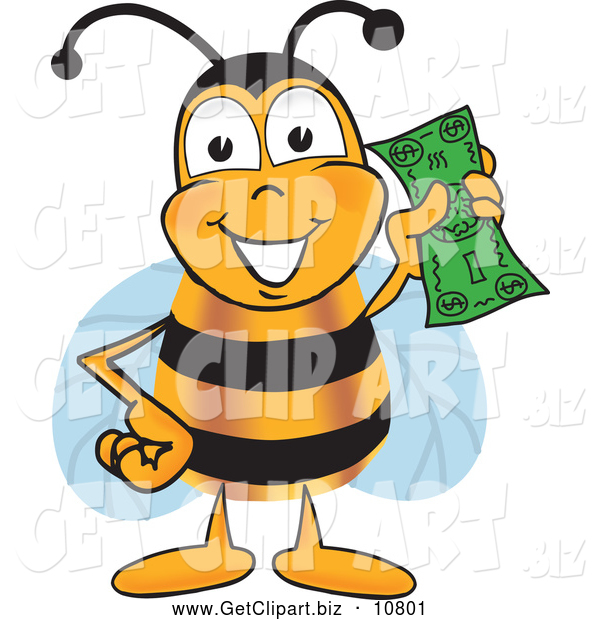 Clip Art of a Happy and Outgoing Bee Mascot Cartoon Character Holding a Dollar Bill