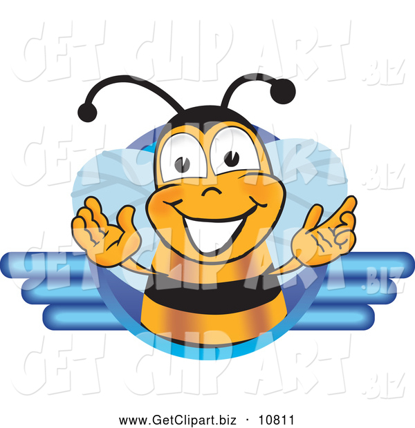 Clip Art of a Happy and Smiling Bee Mascot Cartoon Character Logo