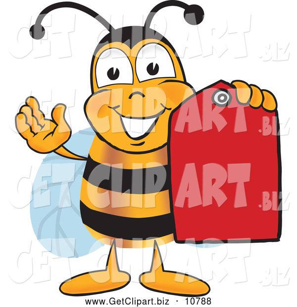 Clip Art of a Happy Bee Mascot Cartoon Character Holding a Red Clearance Sales Tag