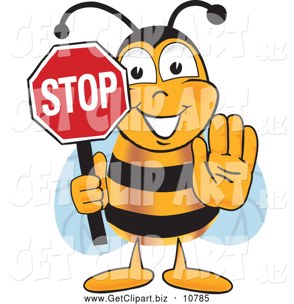 Clip Art of a Happy Bee Mascot Cartoon Character Holding His Hand out and a Red Stop Sign