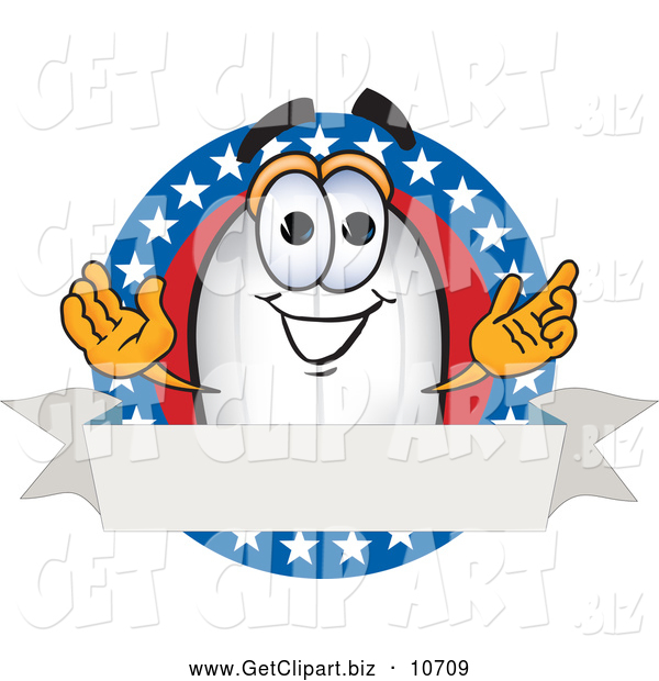 Clip Art of a Happy Blimp Mascot Cartoon Character Logo with Stars and a Blank Ribbon