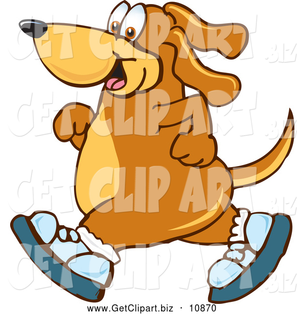 Clip Art of a Happy Brown Dog Mascot Cartoon Character Wearing Tennis Shoes and Taking a Walk